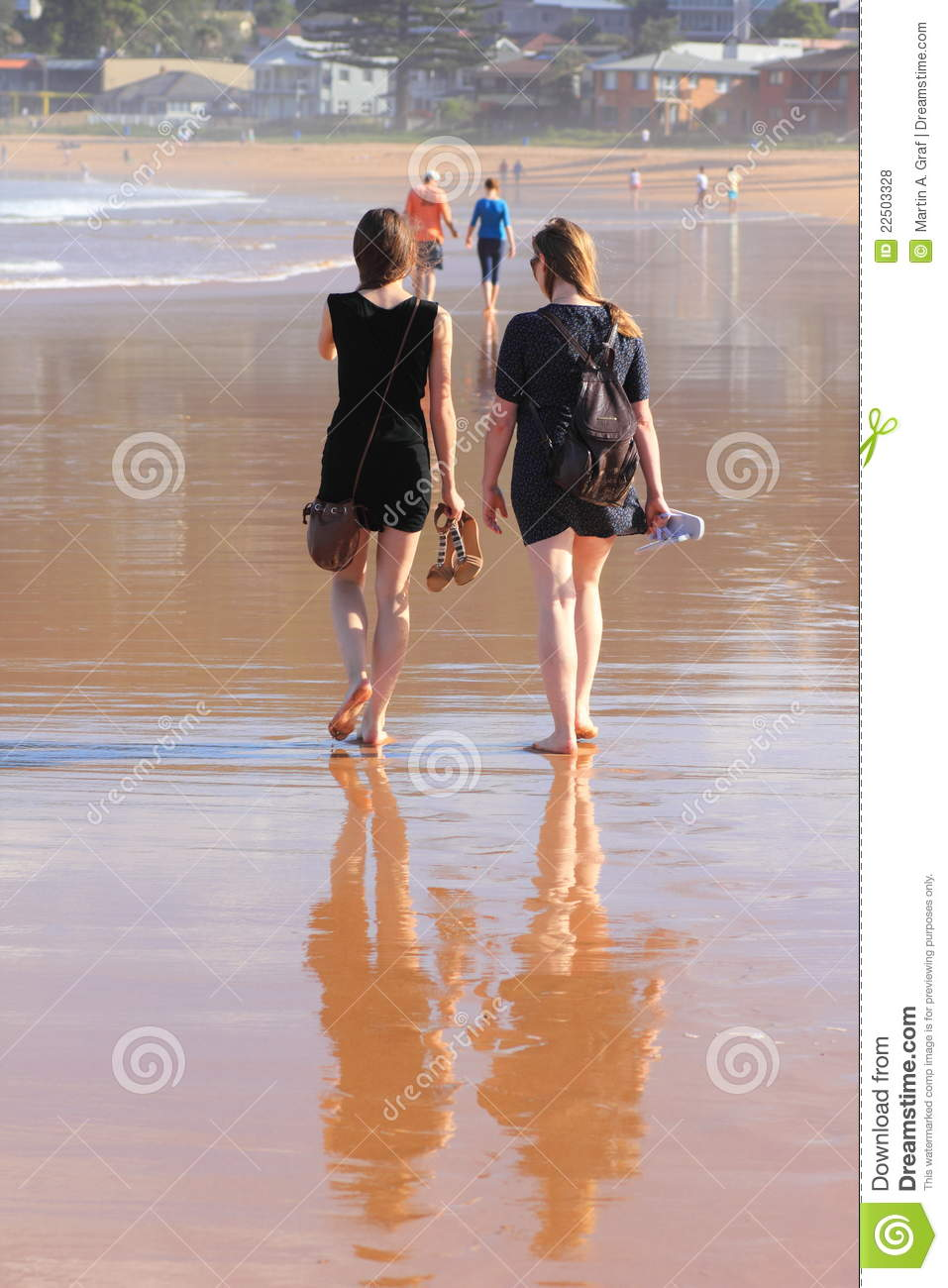 Australia avoca barefoot beach daughter lifestyle mother talking two walking women