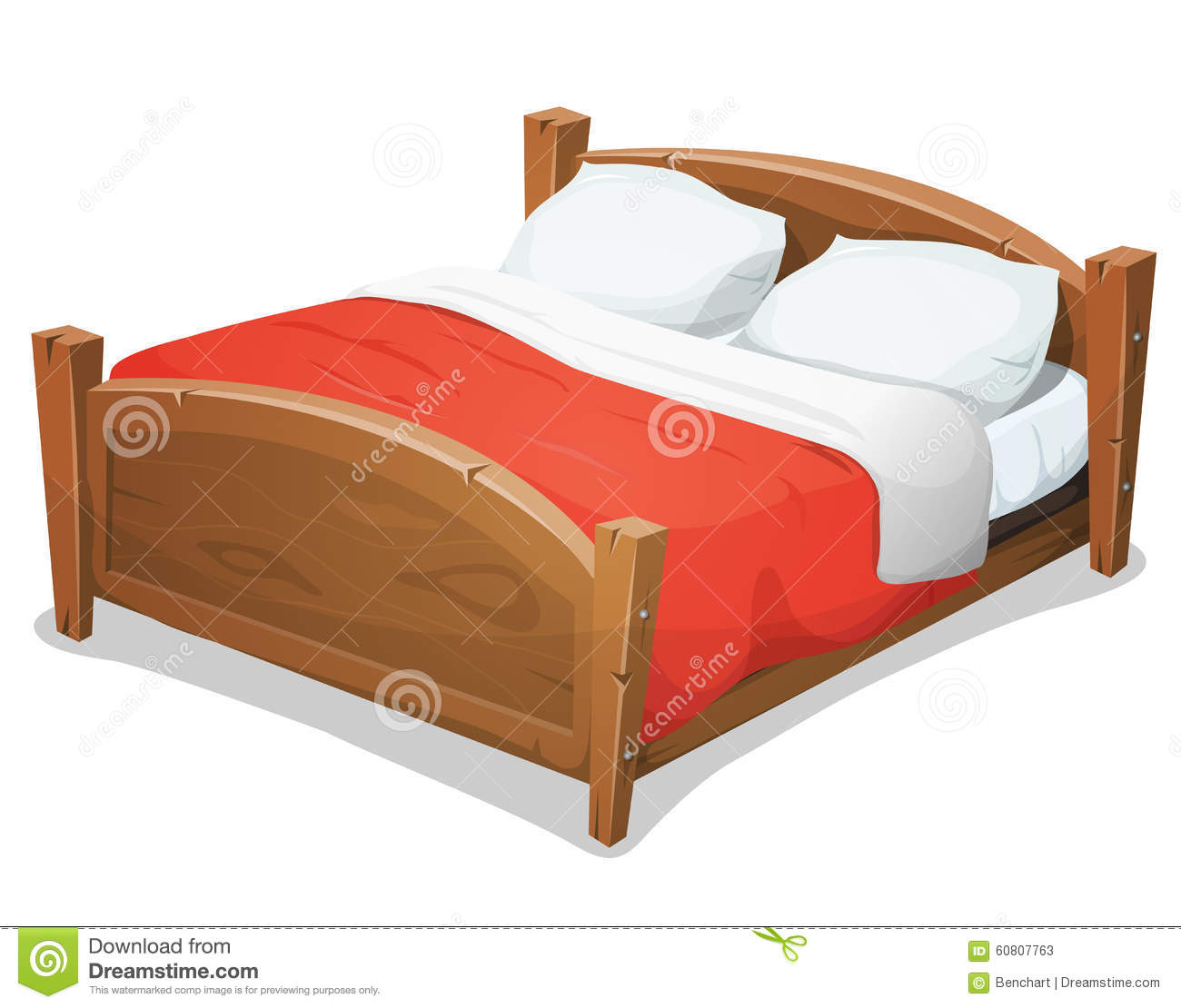 Dessin Lit Double Wood Double Bed With Red Blanket Stock Vector
