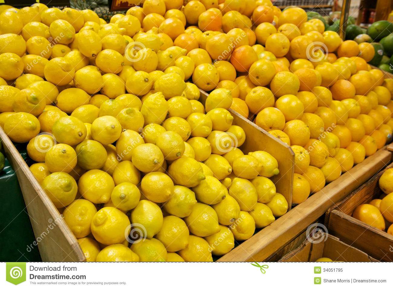 Fruit Bins For Sale Wooden Bins Filled With Fresh Lemons And Oranges Stock