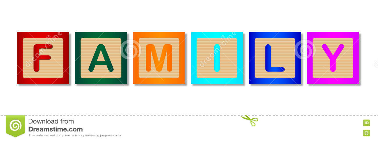 Wooden Block Word FAMILY stock illustration Illustration of - word with the letters