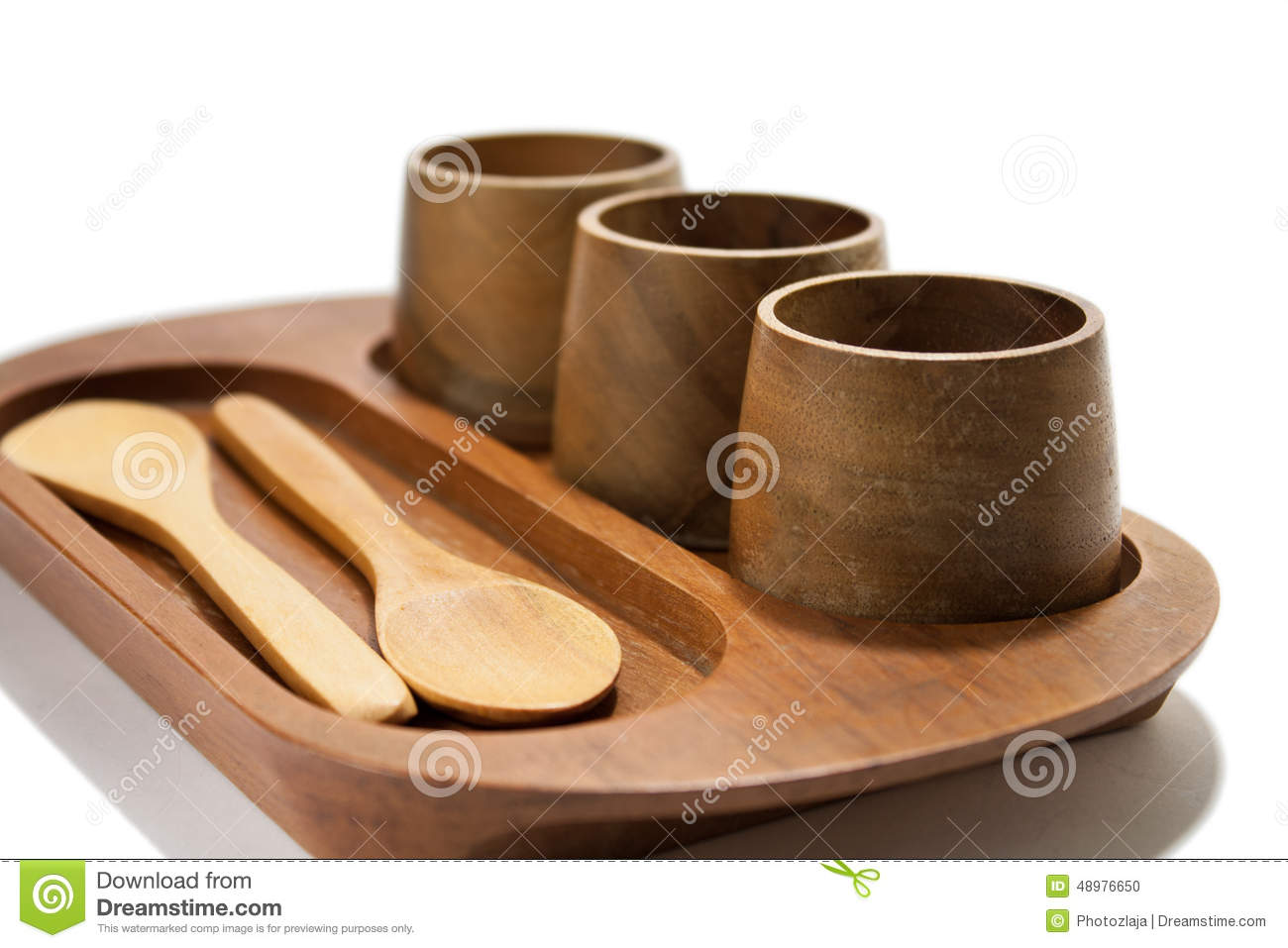Wooden Drink Holder Wooden Cups And Spoons On The Wooden Holder Stock Photo