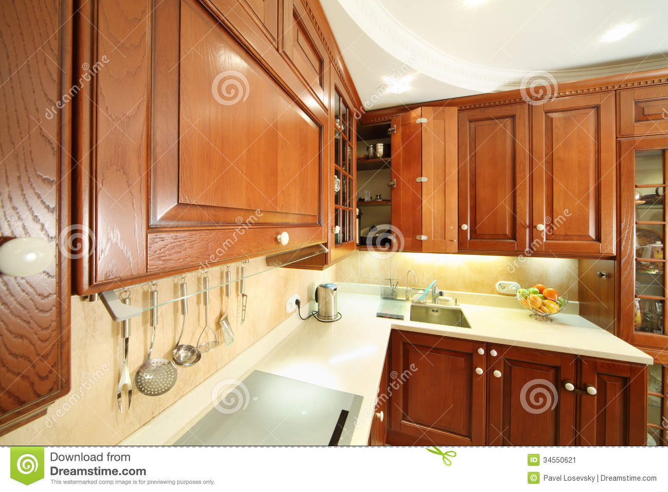Cleaning Kitchen Cabinets Wood Wooden Kitchen Stock Image Image 34550621