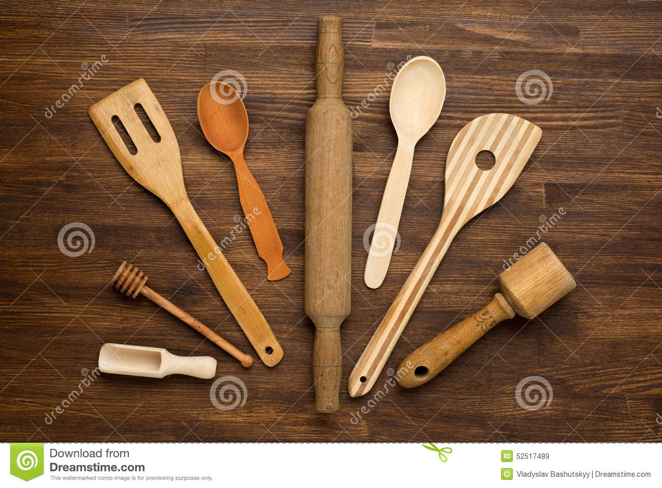 Background Dapur Wooden Kitchen Tools On Vintage Wooden Background Stock