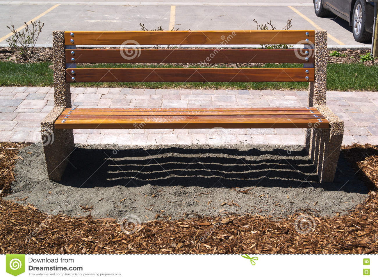 Wooden Park Benches Front Wooden Park Bench Sitting On Grey Gravel And Mulch Stock