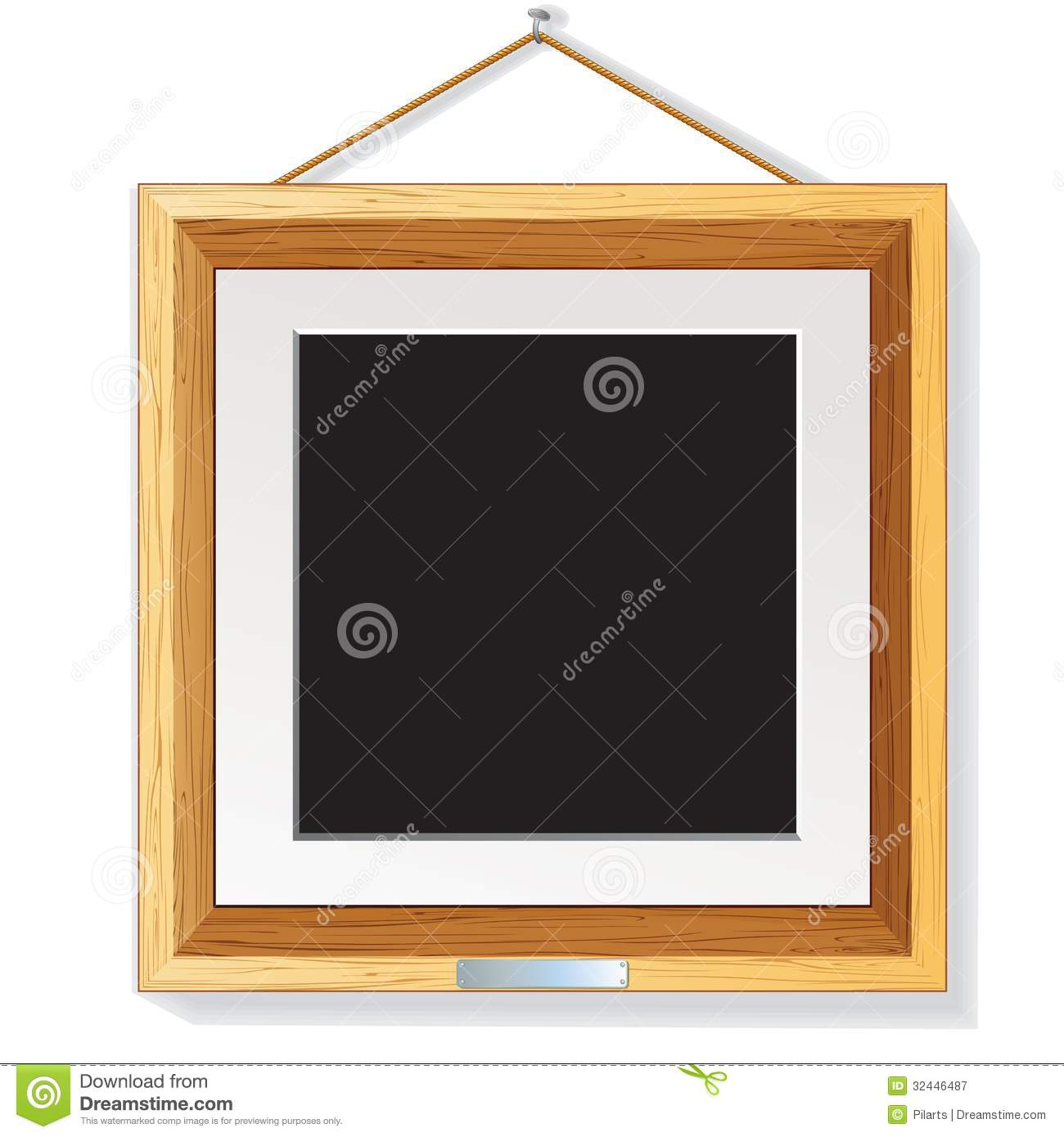 Pictures On The Wall Wooden Photo Frame On The Wall Vector Illustration Royalty