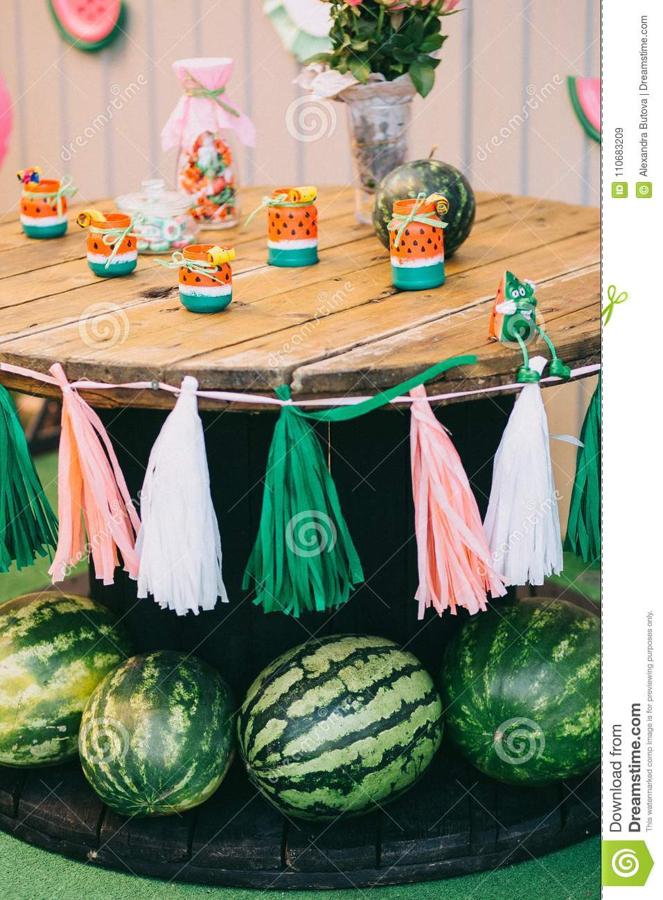 Picnic Decor Wooden Picnic Table Childrens Holiday Birthday With Watermelons