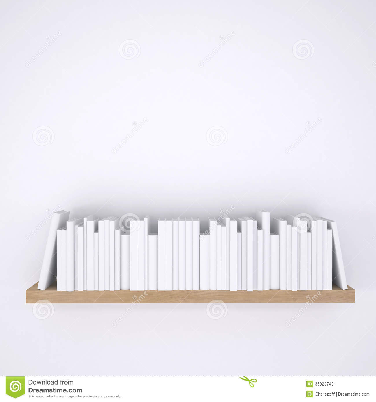 White Wall Book Rack Wooden Shelf With Books On White Wall Background Stock