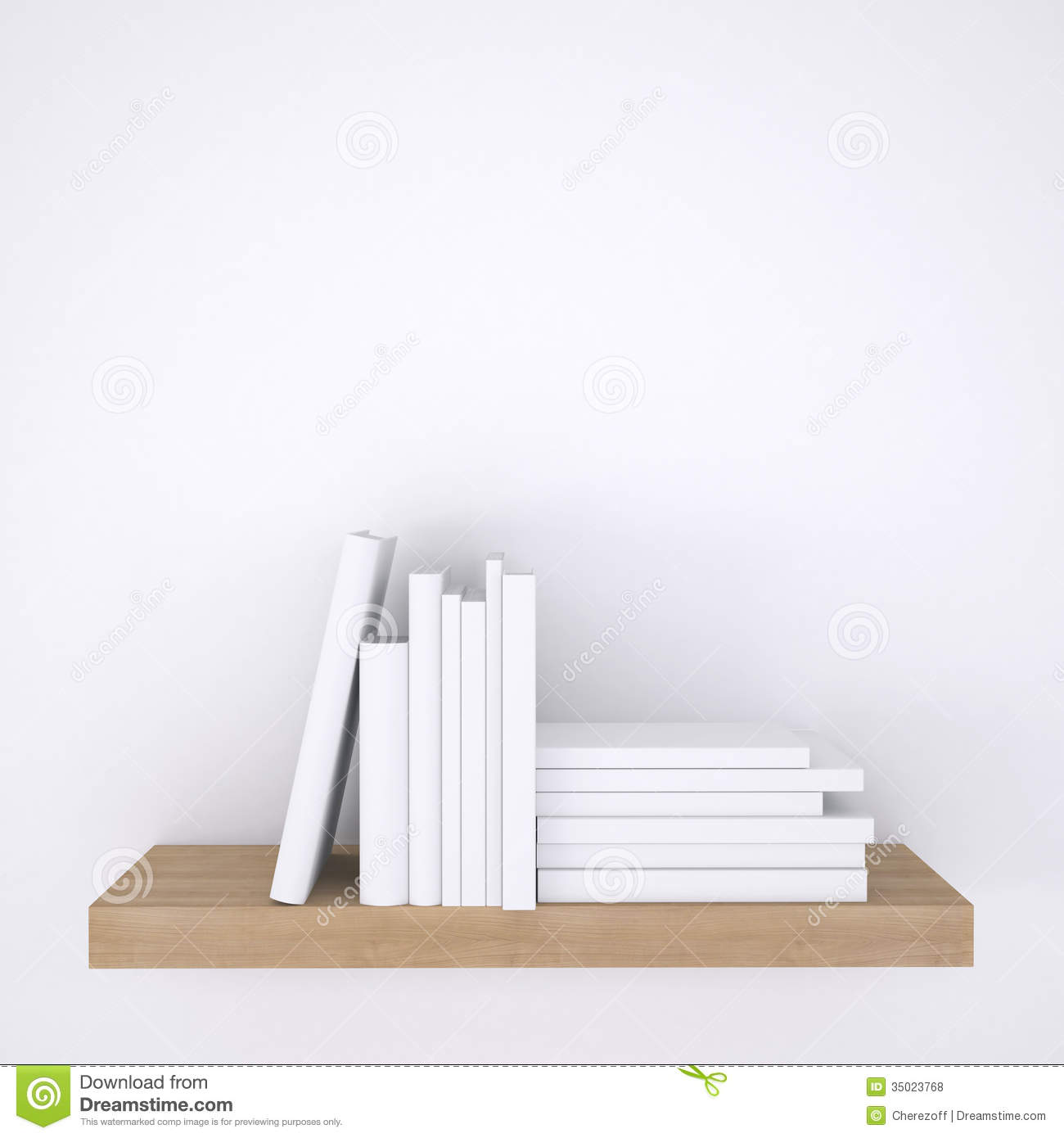 White Wall Book Rack Wooden Shelf With Books On White Wall Background Royalty
