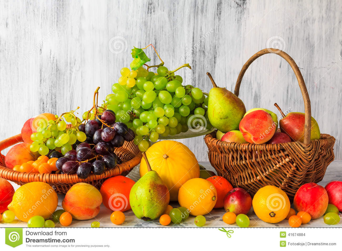 Table Top Fruit Basket Wooden Table Full Fresh Fruit Baskets Stock Photo Image