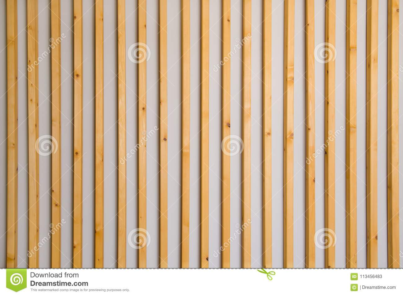 Vertical Wood Slat Wall Wooden Vertical Slats Batten On A Light Gray Wall Background