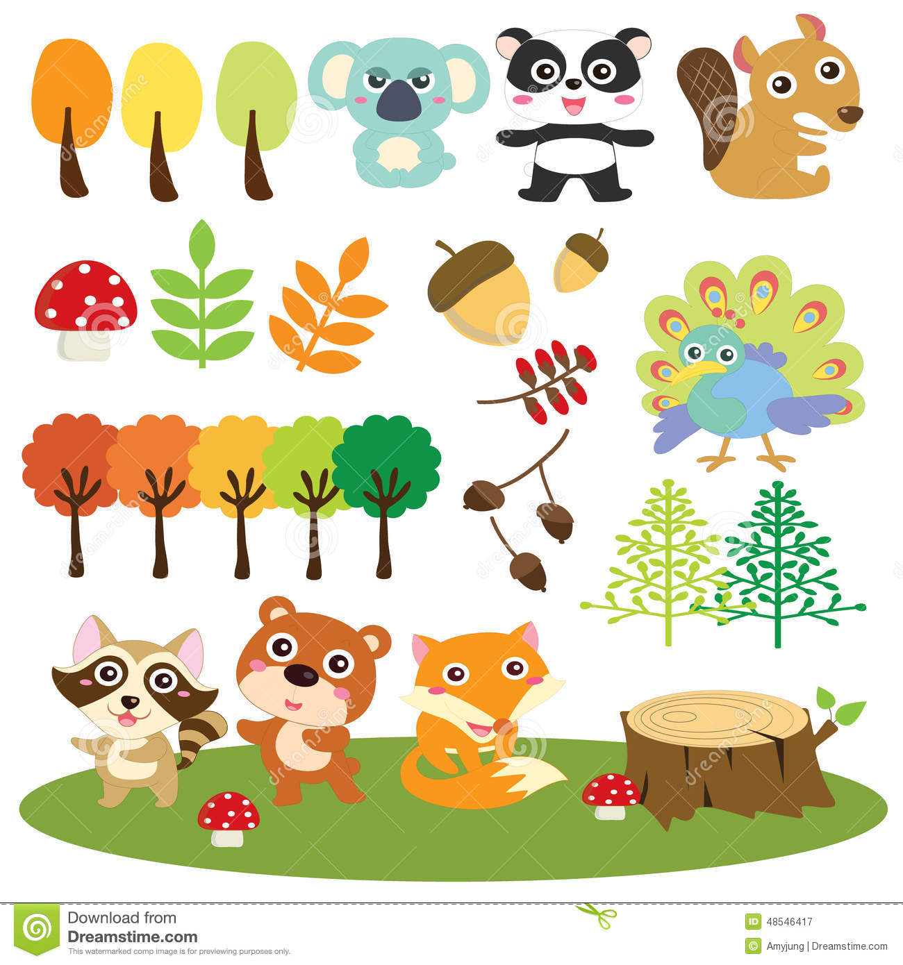 Fall Leaves Fox Wallpaper Woodland Animals Clip Art Set Stock Image Image Of