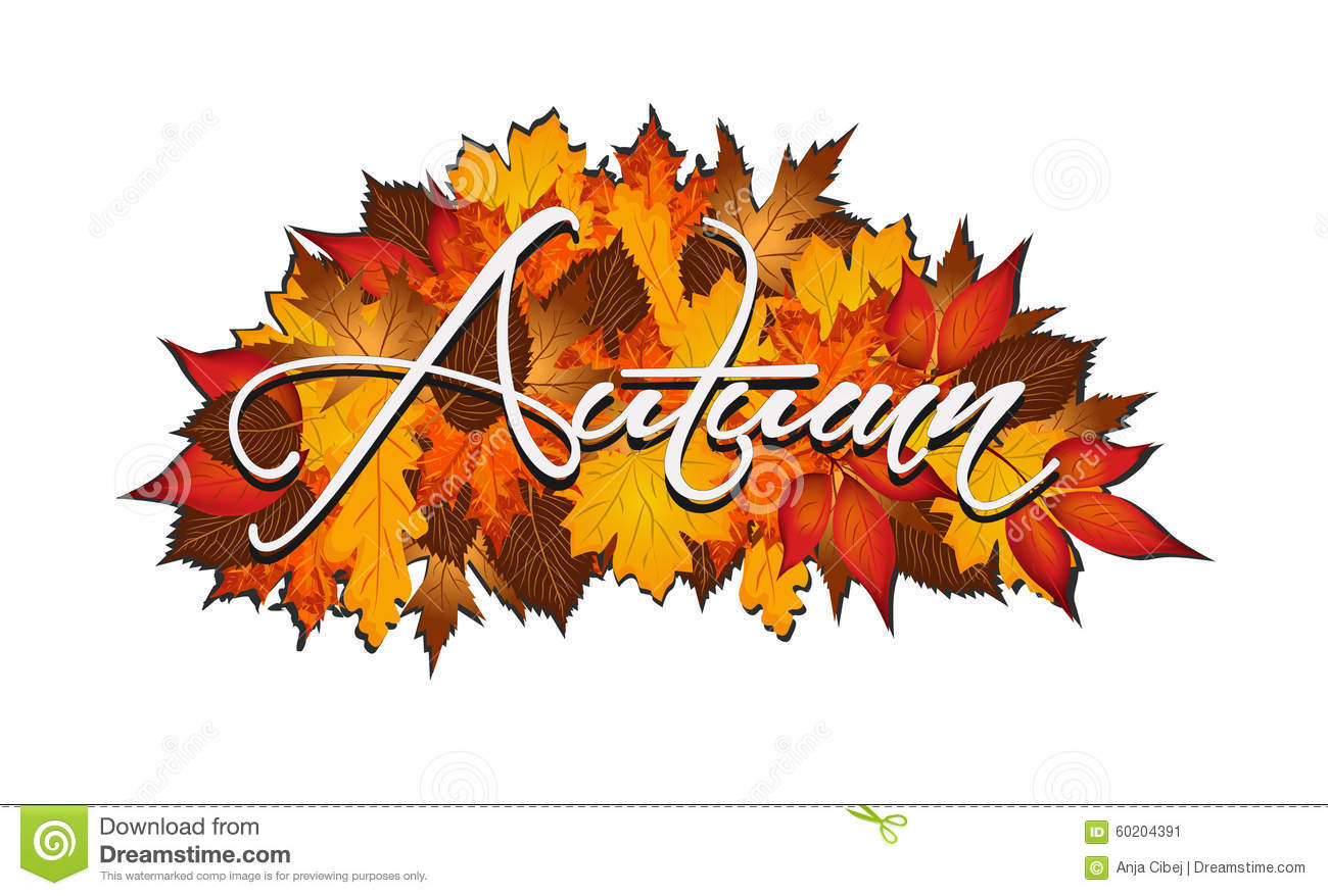 3d Falling Leaves Animated Wallpaper Word Autumn Covered In Autumnal Leaves Stock Vector
