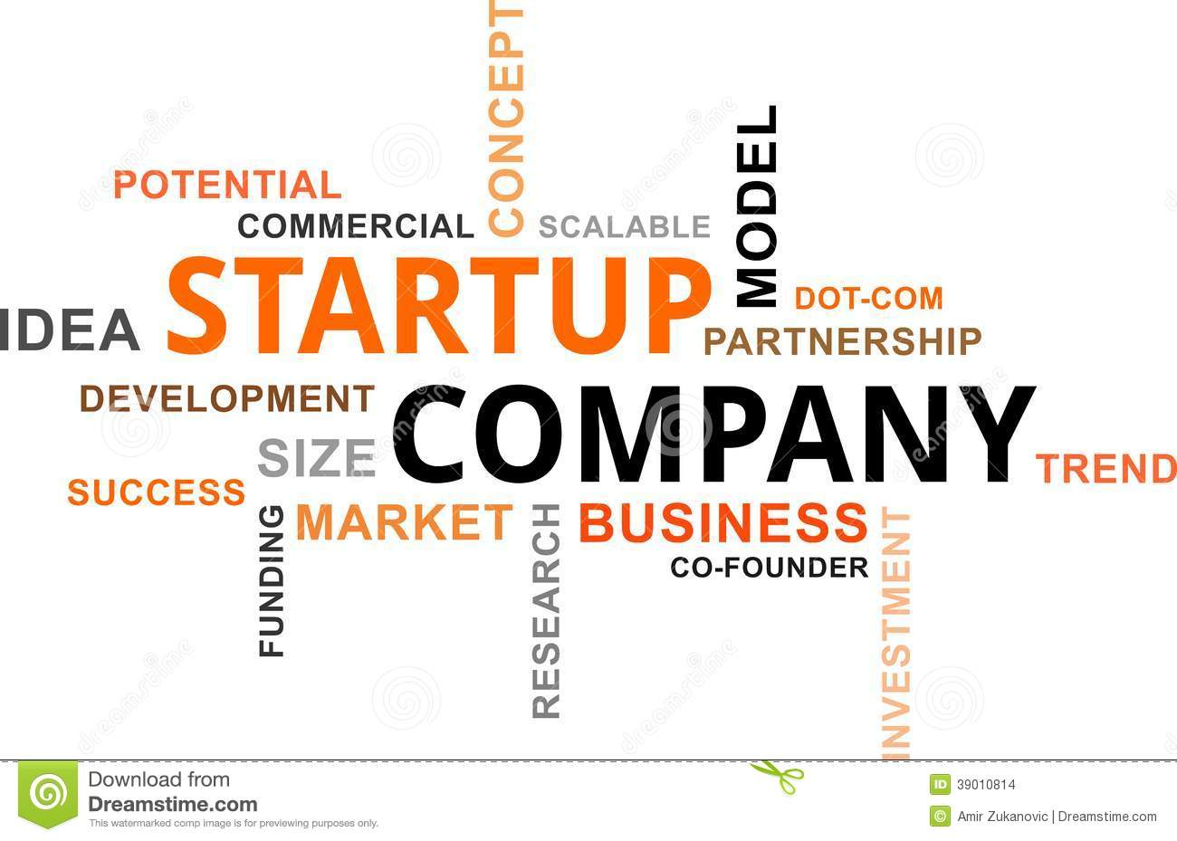 Start A Startup Company Word Cloud Startup Company Stock Vector Illustration