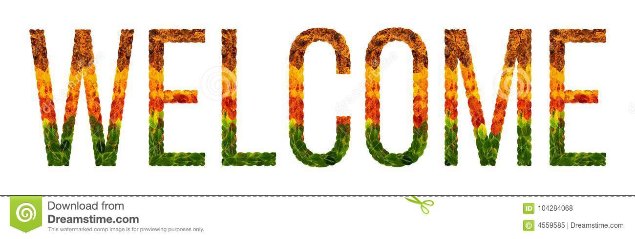 Word Welcome Written With Leaves White Isolated Background, Banner