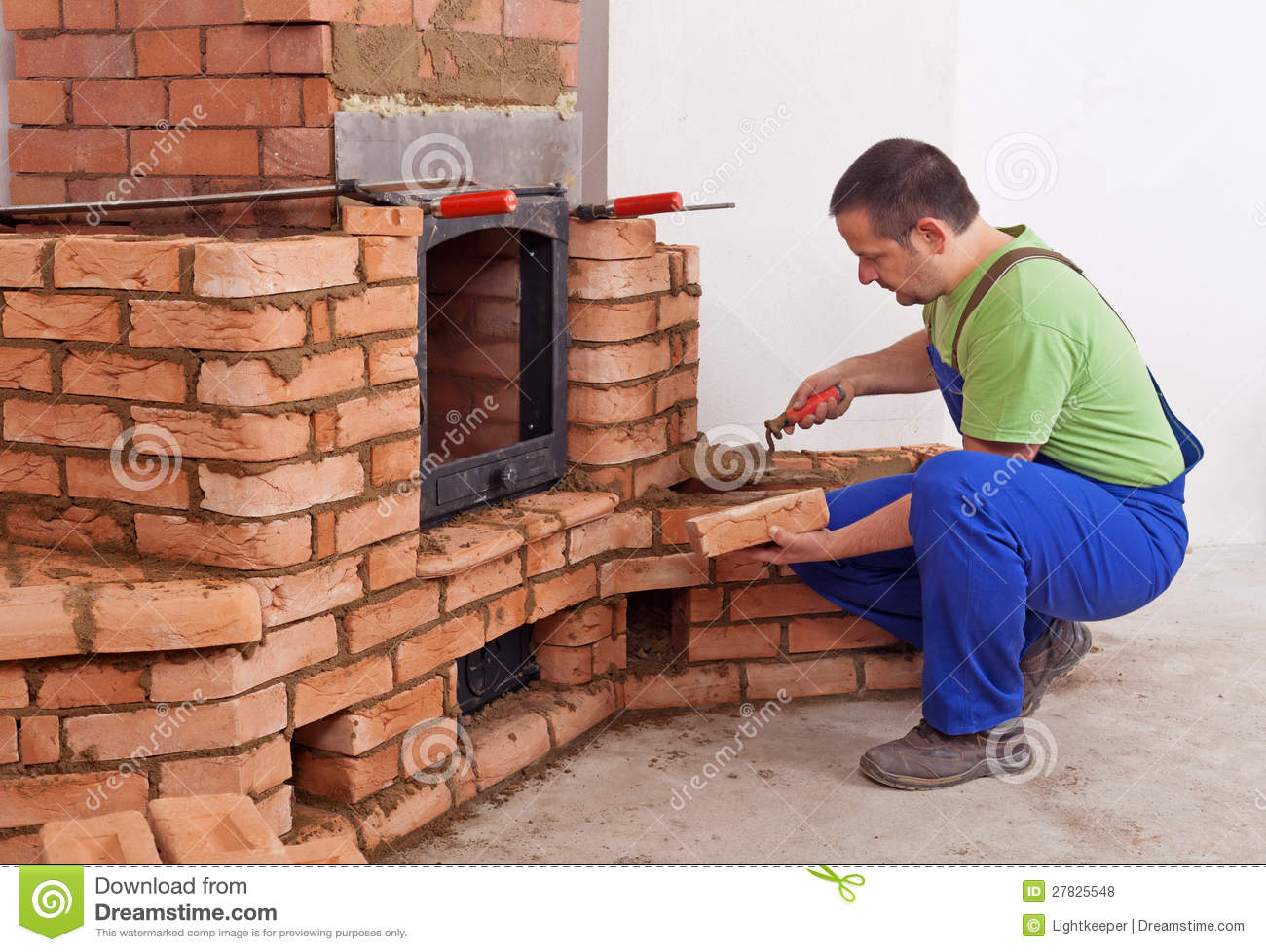 Kamin Einbauen Worker Building Masonry Heater Stock Photo - Image Of