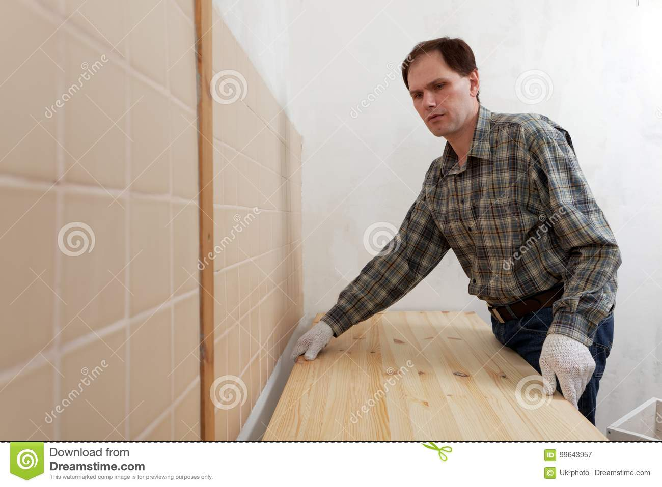 Installing A Countertop Worker Installing A Countertop Stock Image Image Of Manual