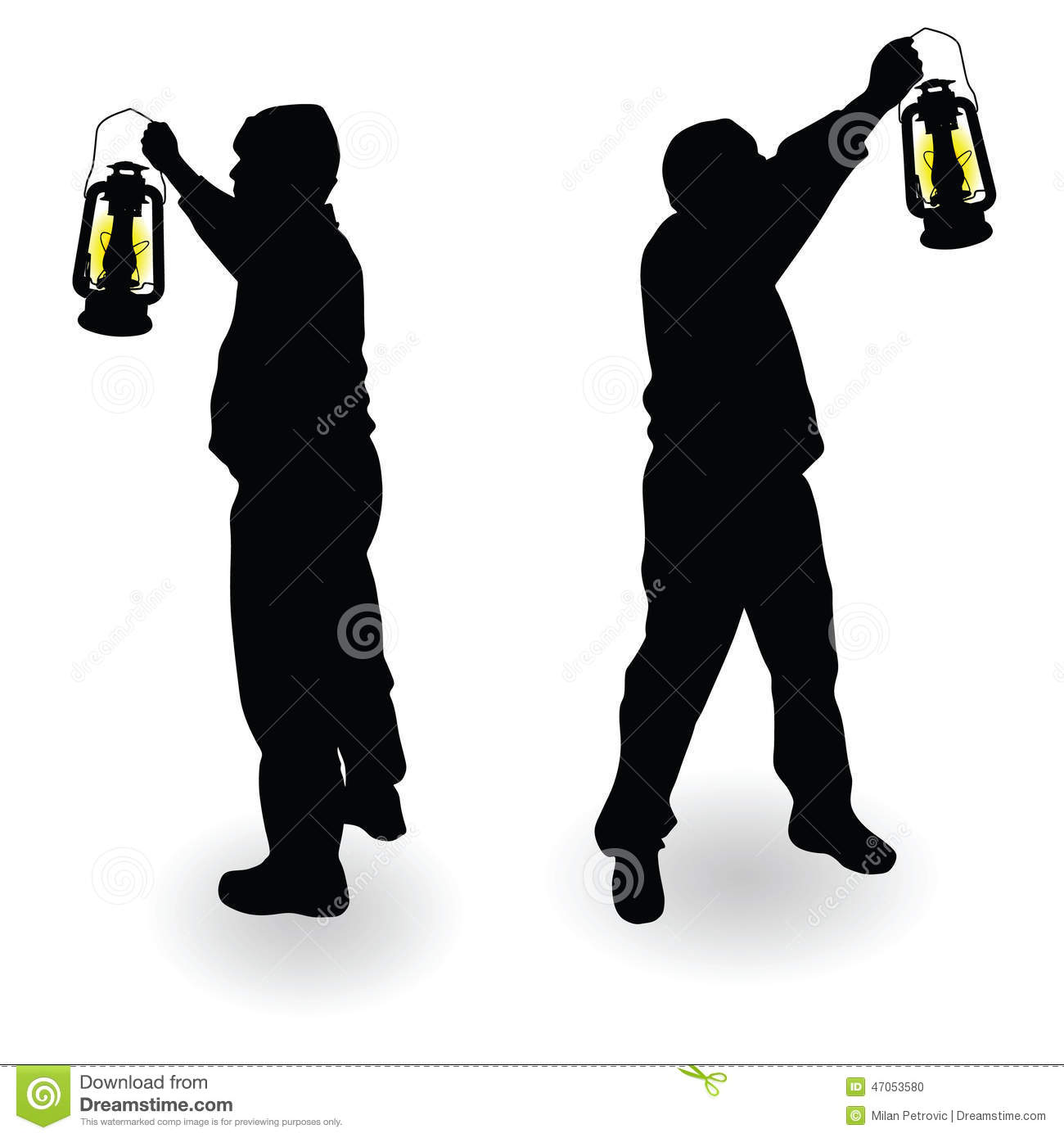 Lantaarn Lamp Working Man With Lantern In Hand Black Silhouette Stock