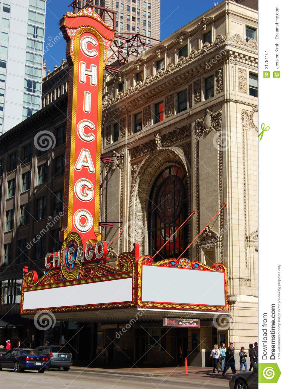 Lit Mezannine World Famous Landmark Chicago Theater Sign Editorial Photo