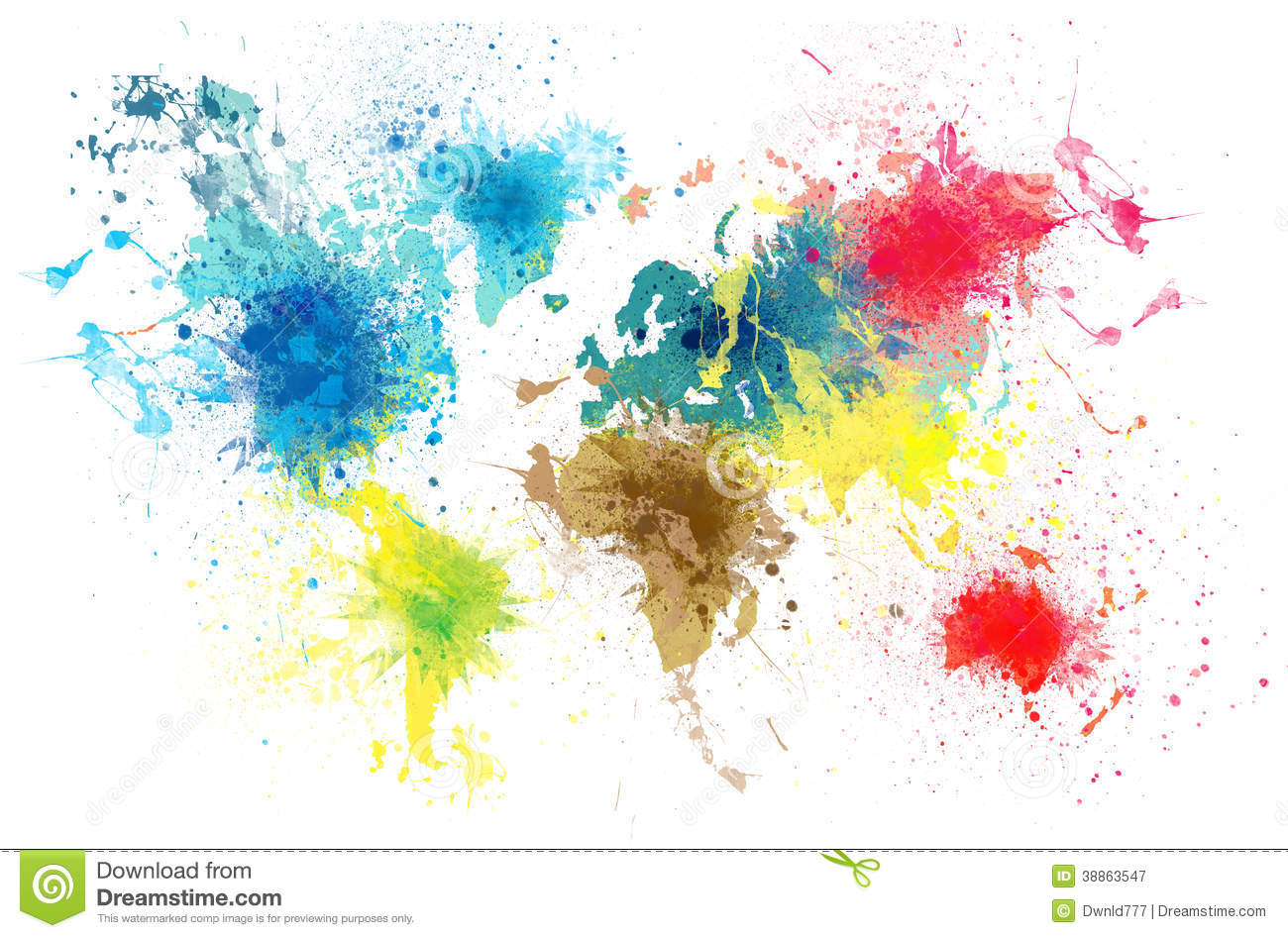 Space Journey 3d Wallpaper World Map With Paint Splashes Stock Illustration Image