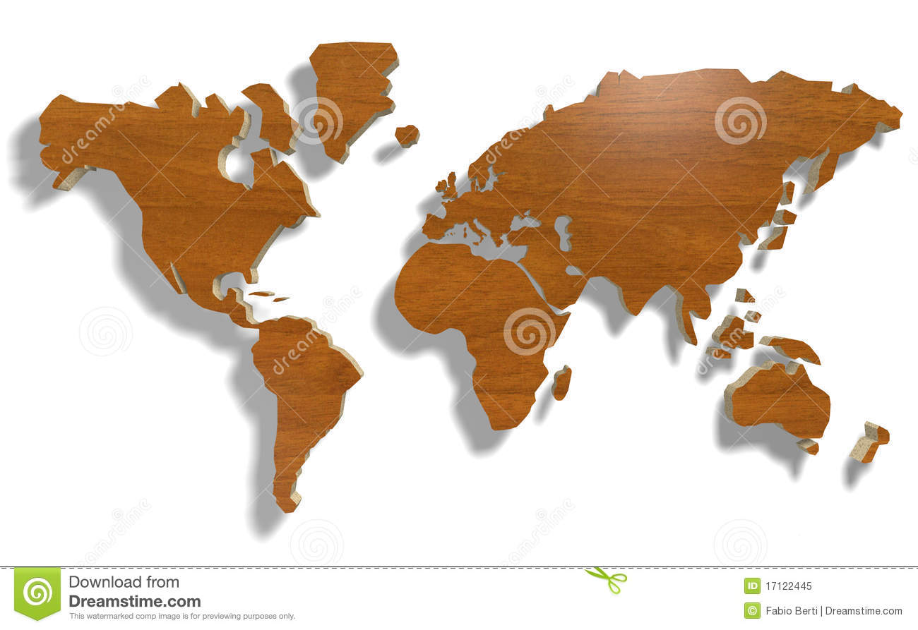 Planisfero Sughero World Map With Wood Royalty Free Stock Photo Image 17122445