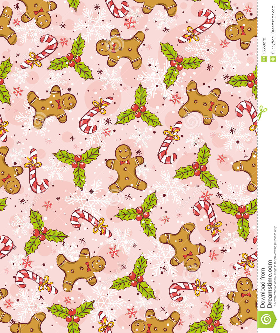 Cute Pink Snowman Wallpaper Wrapping Paper With Christmas Elements Stock Vector