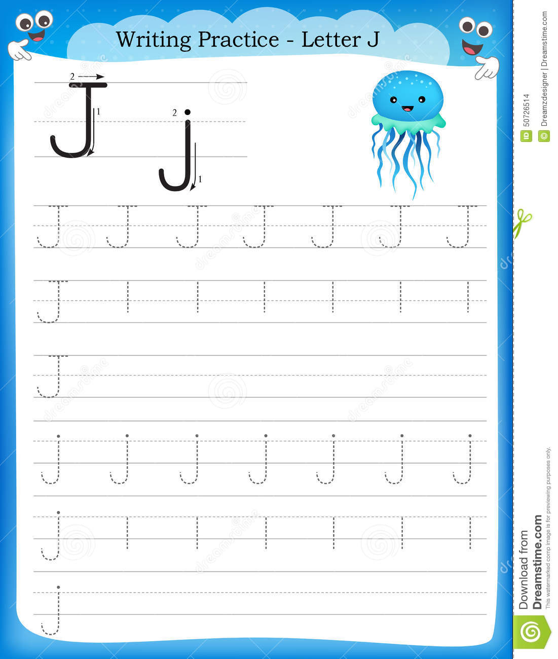 ... Management Writing Practice Letter J Printable Worksheet For Preschool