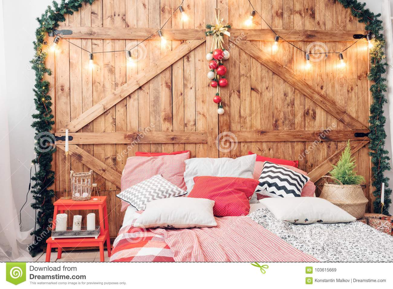 Christmas Bedroom Background Xmas In Morning Bedroom Double Bed In Christmas Interior