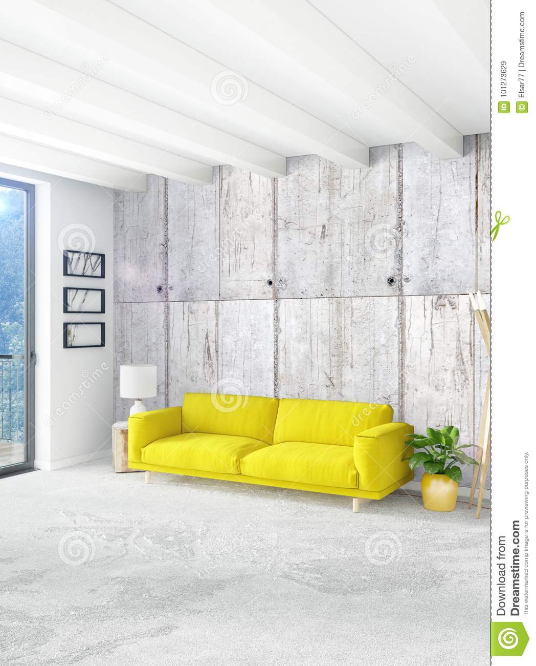 Stylish Furniture Yellow Bedroom Or Livingroom In Modern Style Interior Design With