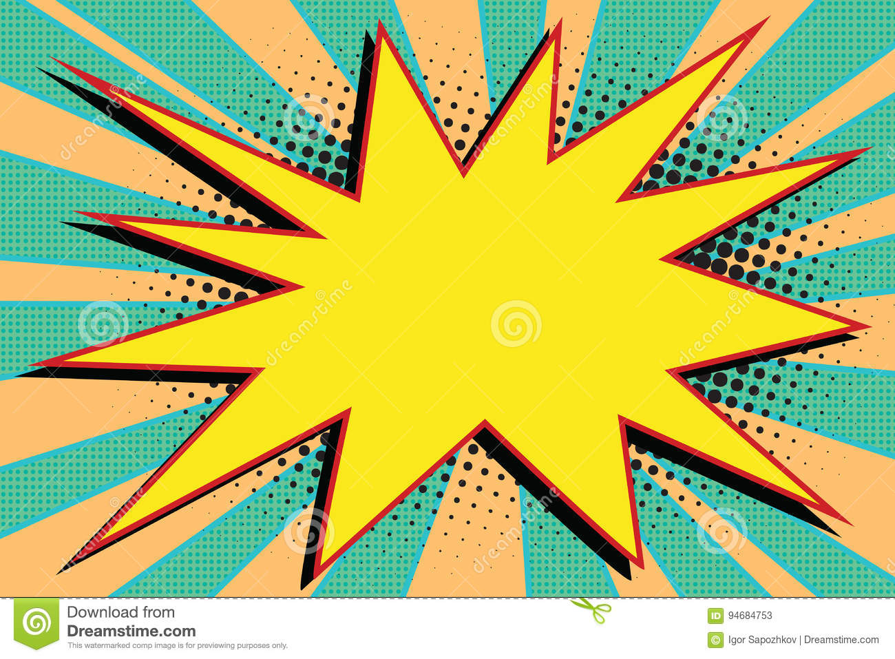Pop Up Book Vector Yellow Comic Burst Explosion Pop Art Stock Vector