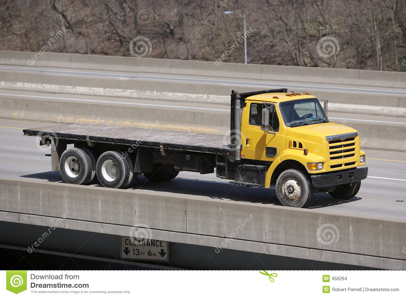 Yellow Flat Bed Truck Stock Photo Image Of Flatbed Tires