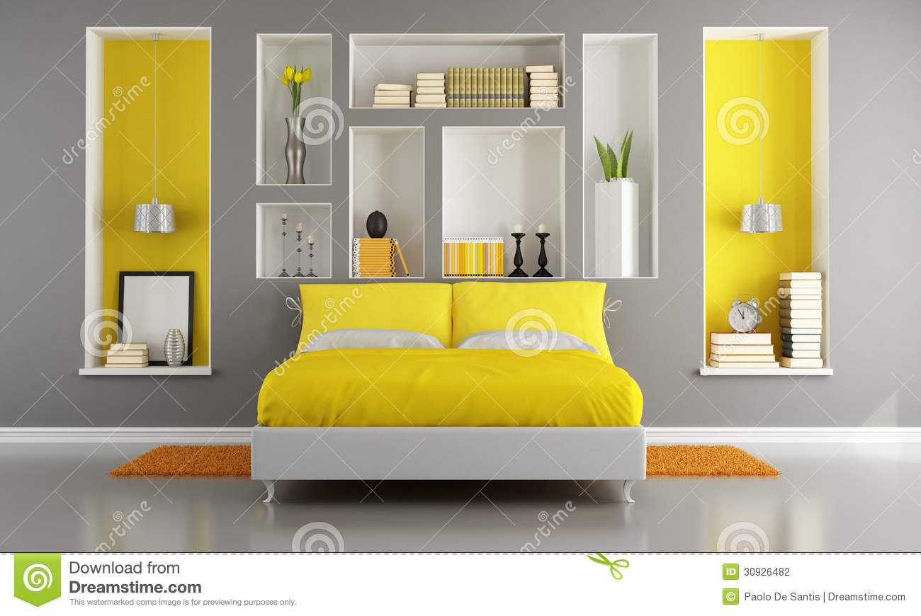 Slaapkamer Okergeel Grijs Yellow And Gray Modern Bedroom Stock Illustration