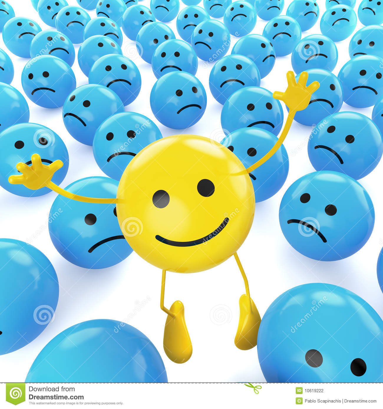 Happy Mood Quotes Wallpapers Yellow Jumping Smiley Between Sad Stock Illustration