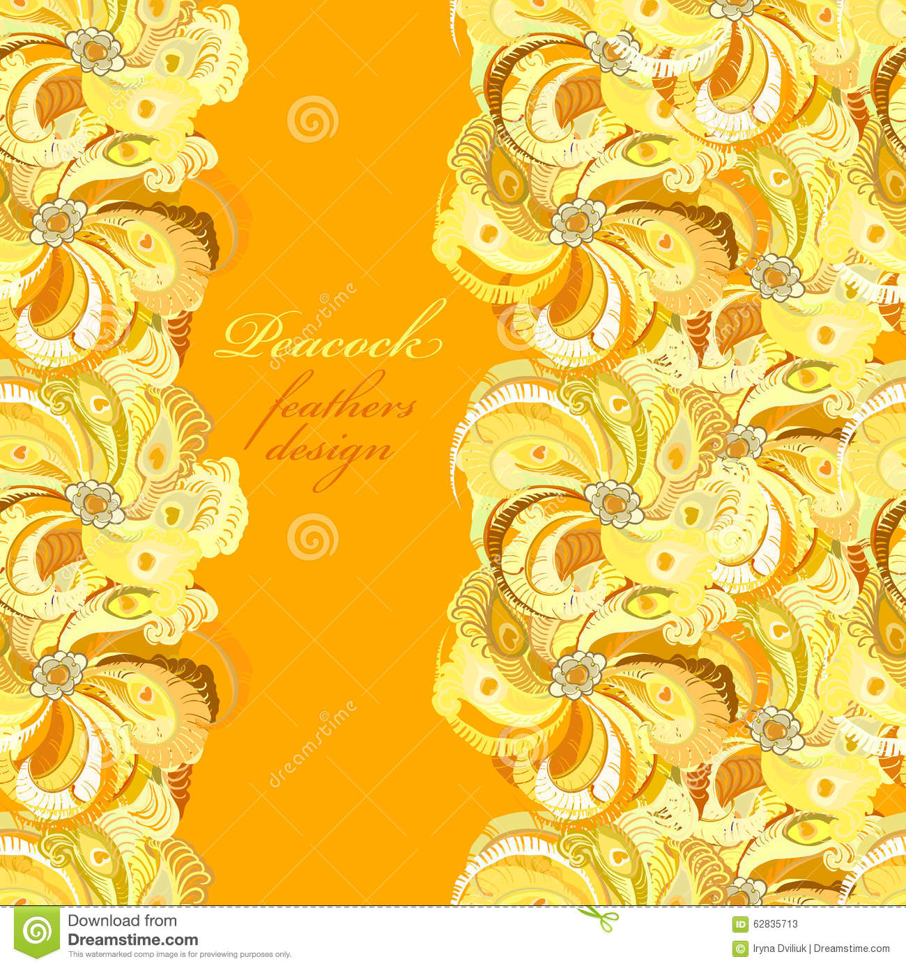 Cute Animal Print Wallpaper Yellow Orange Peacock Feathers Pattern Background Text