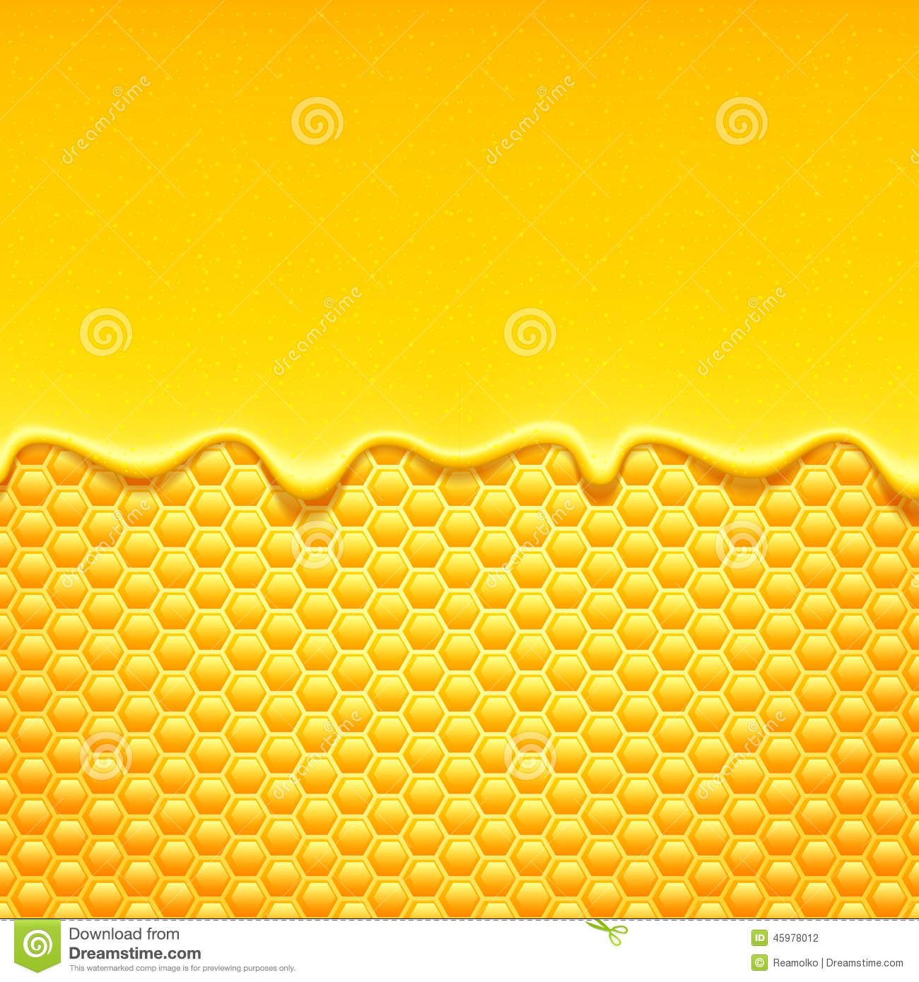 3d Liquid Abstract Wallpaper Yellow Pattern With Honeycomb And Honey Drips Stock