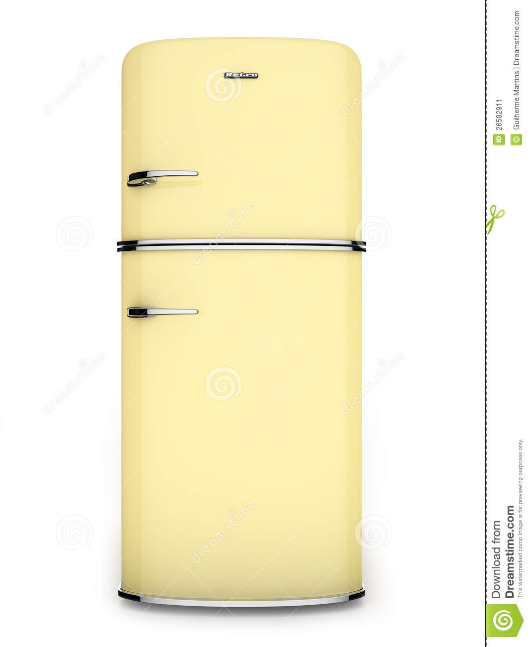 Yellow Fridge Freezer Yellow Retro Refrigerator Front View Stock Illustration