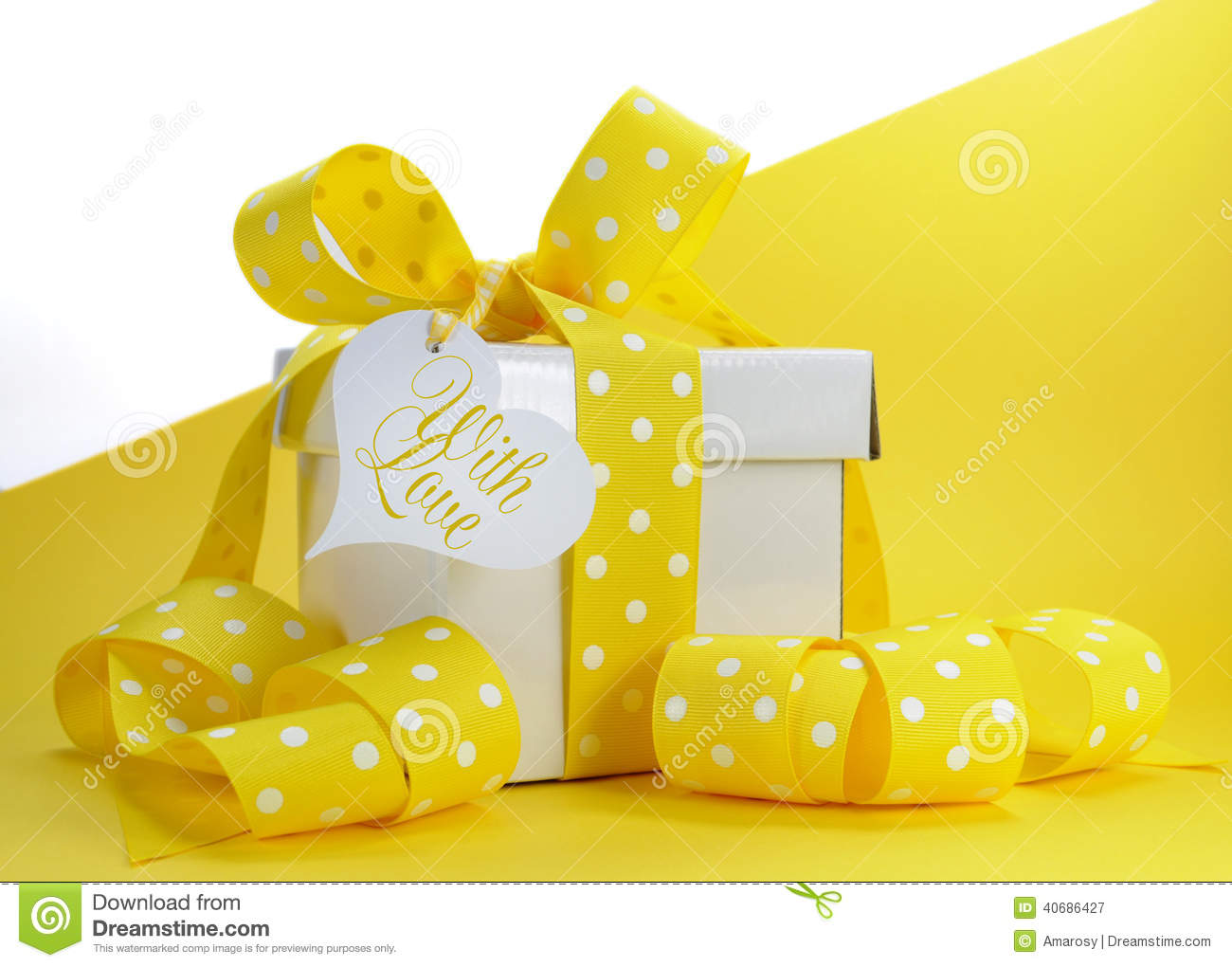Yellow Theme Gift Box With Yellow Polka Dot Ribbon And