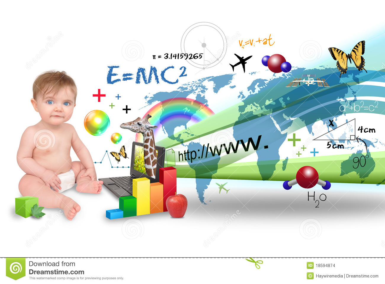 Smart Cute Boy Wallpaper Young Baby Learning On Laptop Computer Stock Images