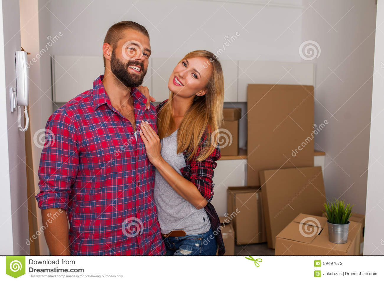 Young Couple Apartment Young Couple Just Move To Their New Apartment Stock Image