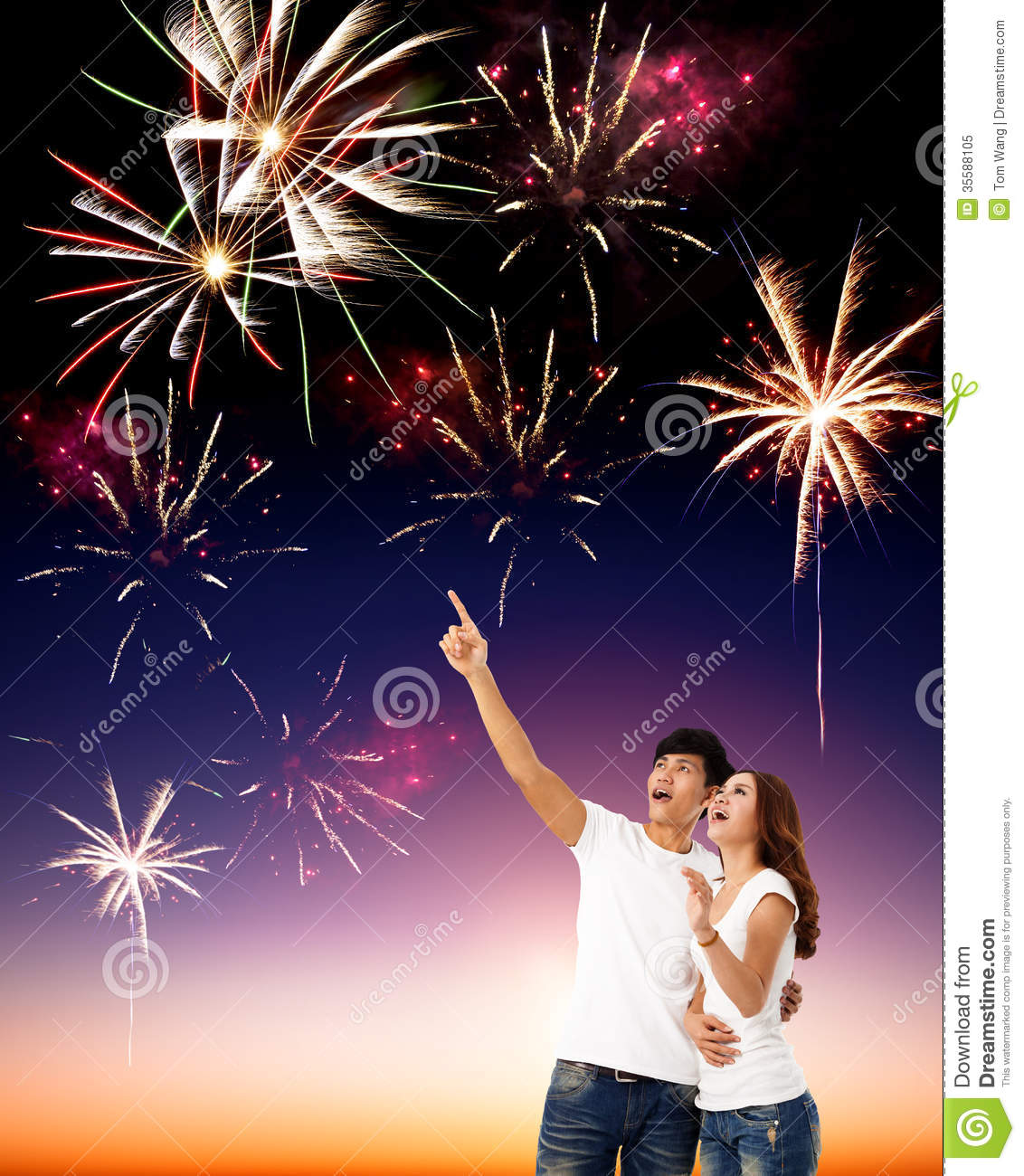 Chinese Little Girl Hd Wallpaper Young Couple Watching The Fireworks Stock Image Image Of