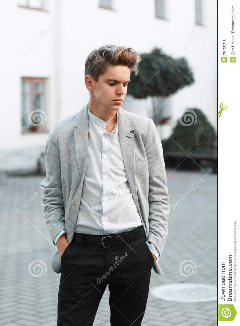 Stylish Clothes Young Handsome Guy In Stylish Clothes Stock Photo Image Of
