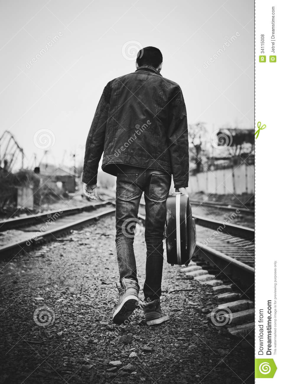 Lonely Girl Walking In Rain Wallpaper Young Man With Guitar Case In Hand Is Going Away Rear