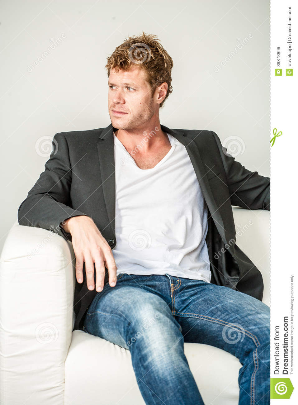 Sofa Model L Young Man In Jeans And Dinner Jacket Stock Image - Image