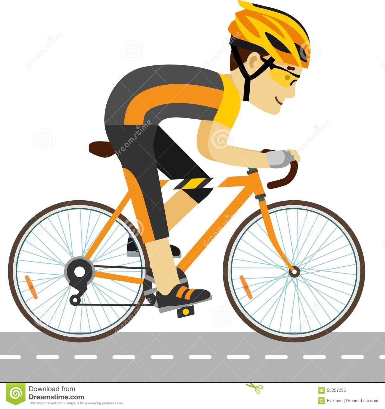 Racing Bicycle Clipart Young Racing Cyclist Man With Bike In Flat Style Stock