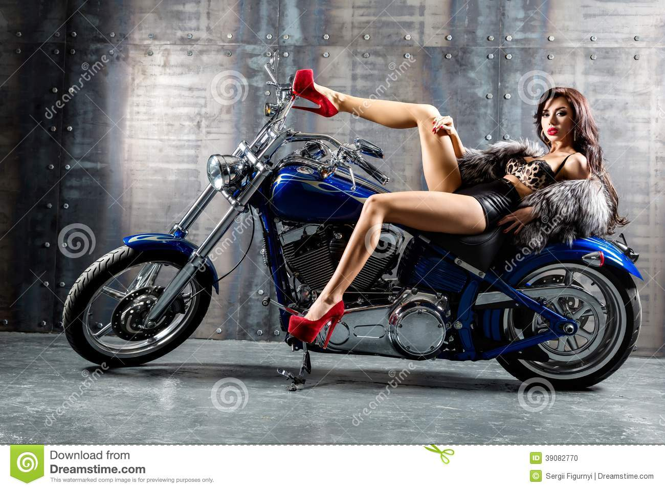 3d Wallpaper Motorcycle Wheelies Young Woman Sitting On Motorcycle Stock Photo Image Of