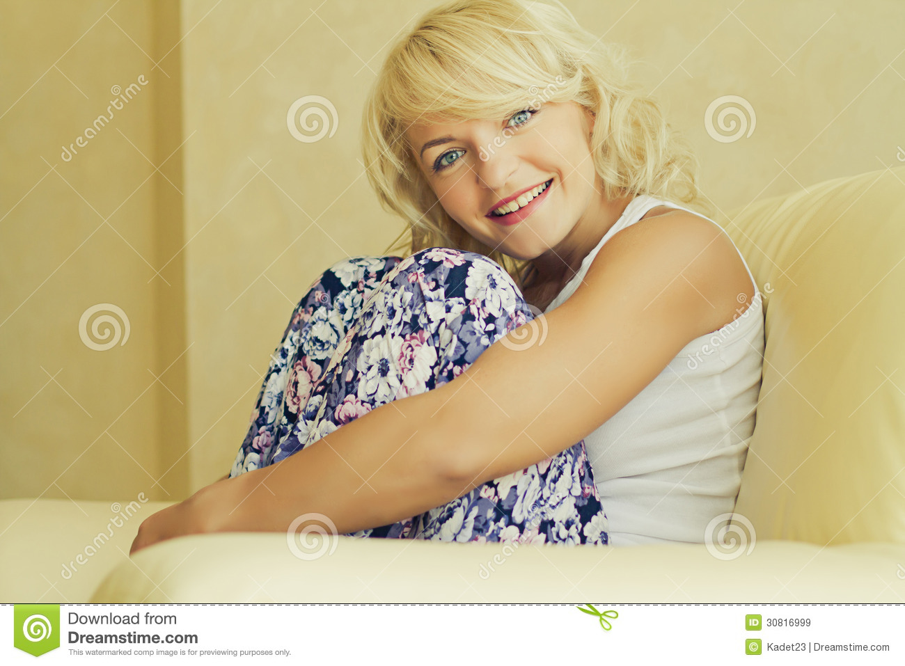 Free Sexmovie Blond Sofa Young Smiling Blond Woman Royalty Free Stock Images