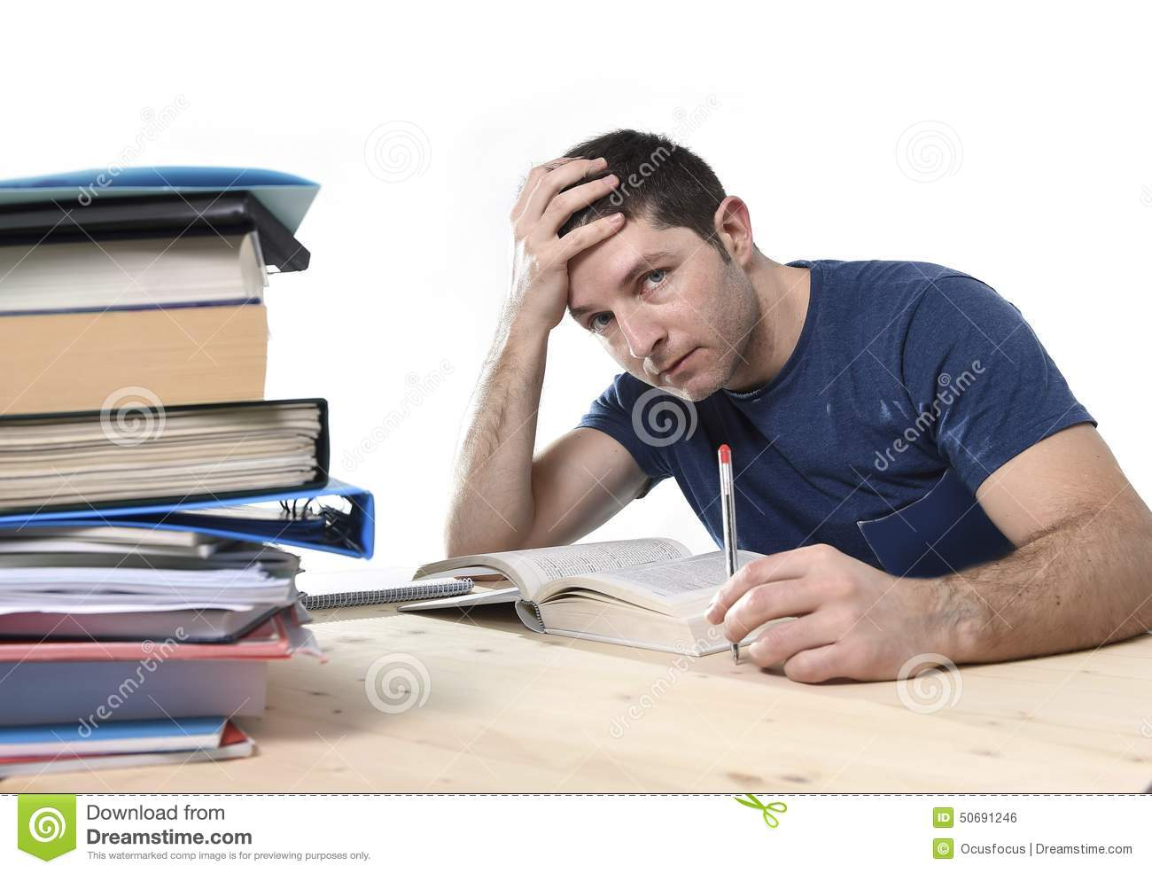 Girl Studying Wallpaper Young Stressed Student Studying On Library For Exam In