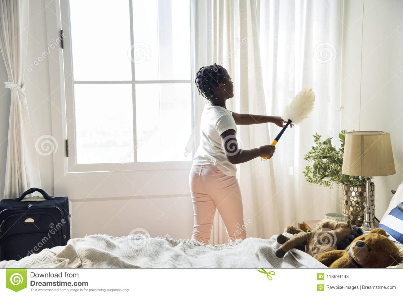 Room For Teen Girl Young Teen Girl Cleaning Up The Bedroom Stock Photo Image Of