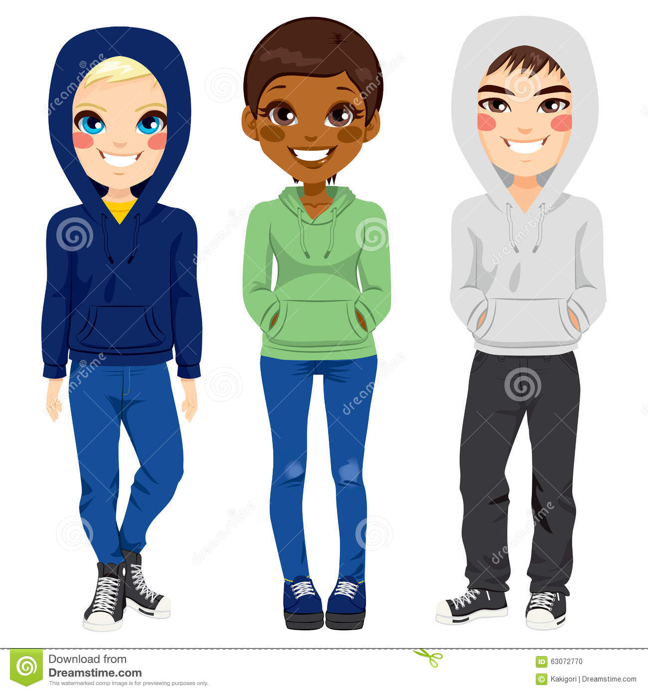 Jugendlicher Cool Clipart Young Teenagers Casual Clothes Stock Vector Illustration Of
