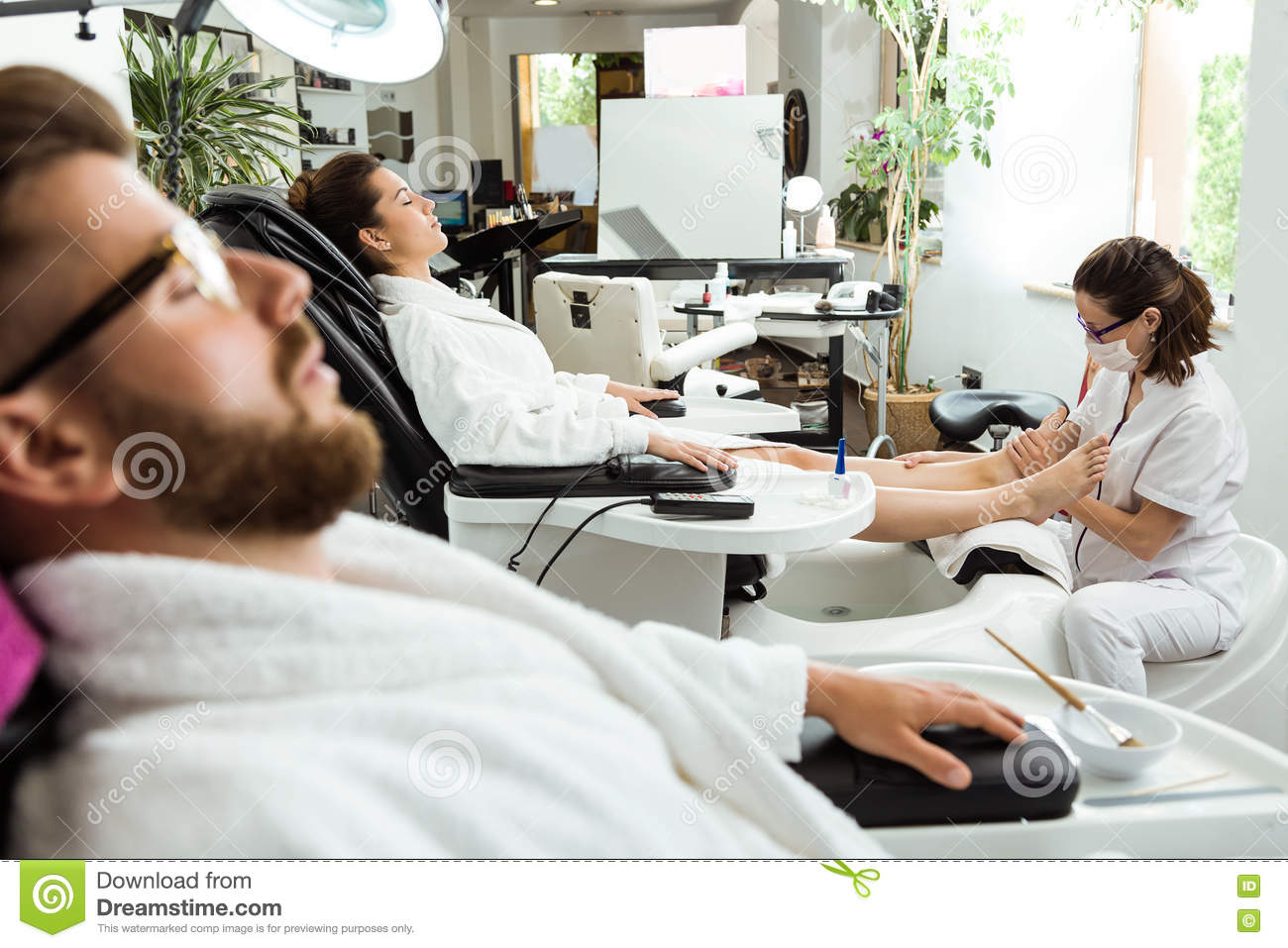 Pedicure Salon Young Woman Doing Pedicure In Salon Beauty Concept Stock Photo