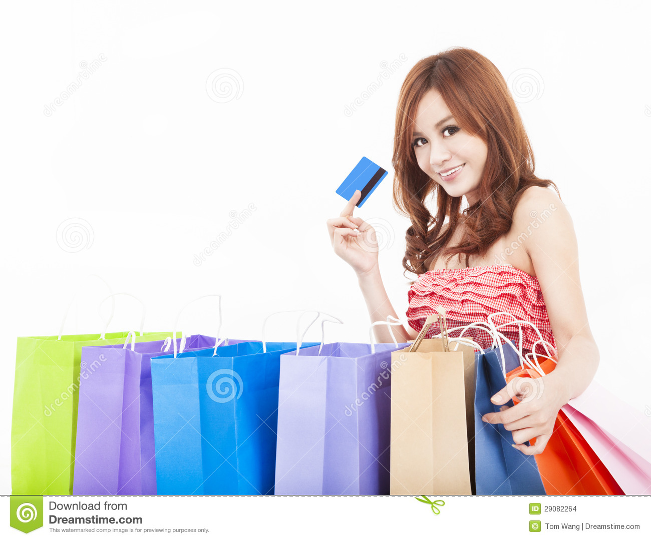 Stores Credit Card Young Woman Holding Credit Card With Shopping Bags Stock